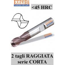 fresa 2 tagli RAGGIATA Metallo Duro serie CORTA