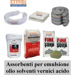 ABSORBENT products for emulsions, whole oil, acids and paints