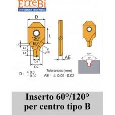 inserti per punta da centri doppio smusso 60/120