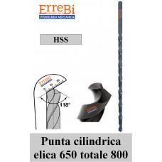 punte elicoidali HSS FORI PROFONDI elica 650 totale 800 serie EXTRA LUNGA  a norma di fabbrica