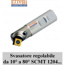 Fresa ad inserti per smussi e svasature registrabile da 10° a 80° utilizza inserti SCMT 1204....